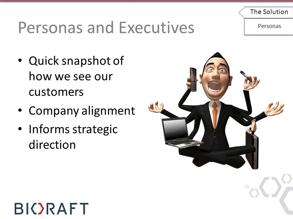Personas and Executives Quick snapshot of how we see our customers Company alignment Informs strategic direction The Solution Personas