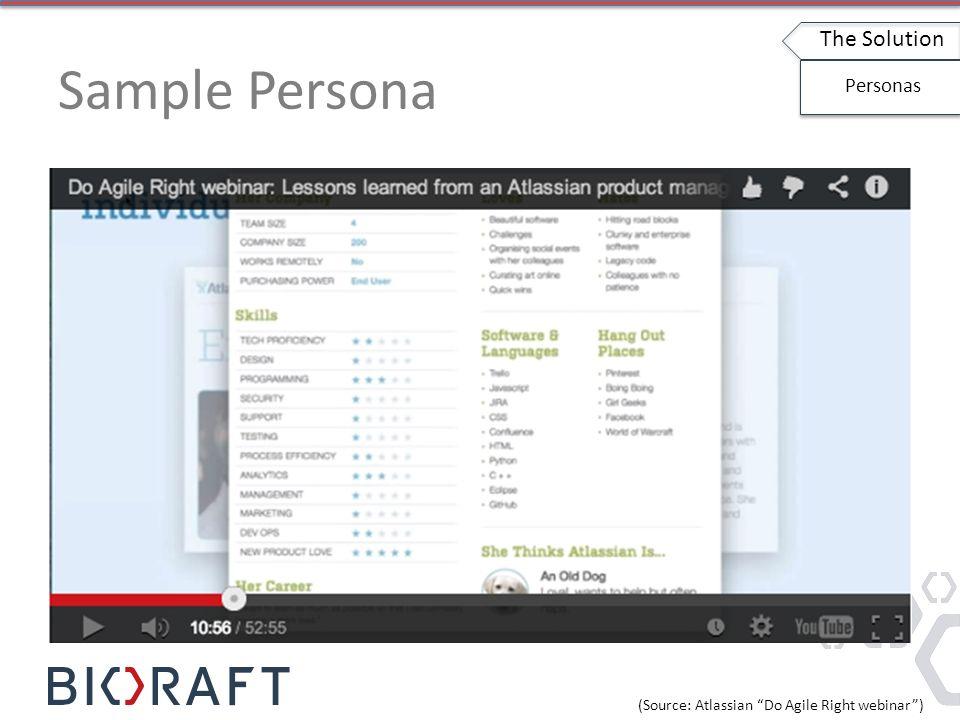 Sample Persona The Solution Personas (Source: Atlassian Do Agile Right webinar )