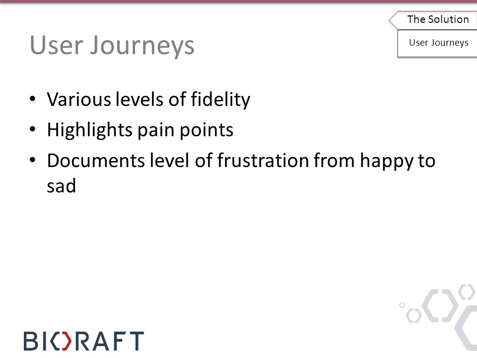 Various levels of fidelity Highlights pain points Documents level of frustration from happy to sad The Solution User Journeys