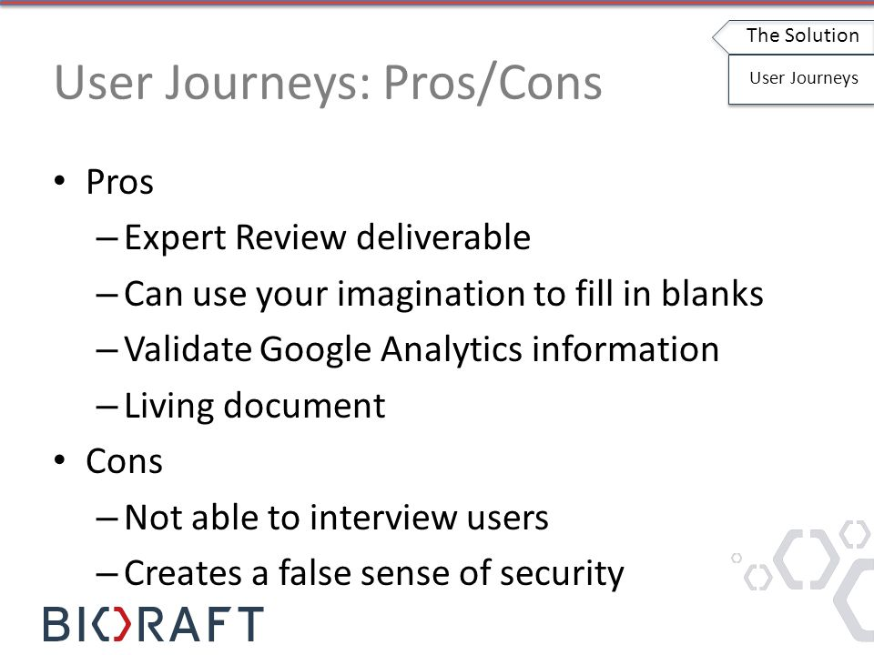 User Journeys: Pros/Cons Pros – Expert Review deliverable – Can use your imagination to fill in blanks – Validate Google Analytics information – Living document Cons – Not able to interview users – Creates a false sense of security The Solution User Journeys