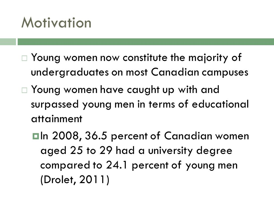 Motivation  Young women now constitute the majority of undergraduates on most Canadian campuses  Young women have caught up with and surpassed young men in terms of educational attainment  In 2008, 36.5 percent of Canadian women aged 25 to 29 had a university degree compared to 24.1 percent of young men (Drolet, 2011)