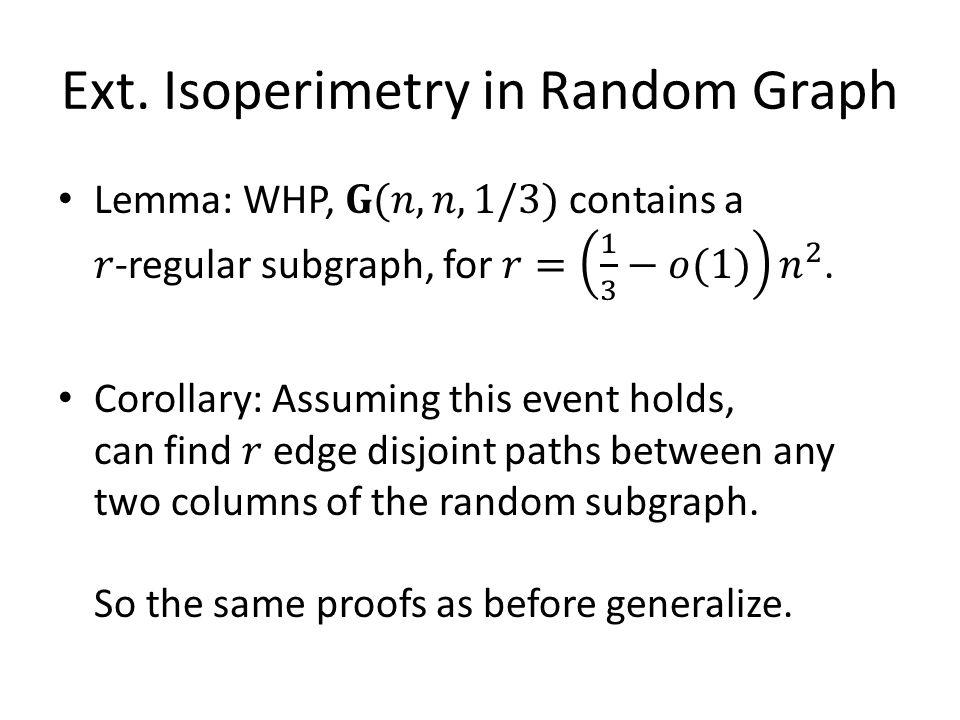 Ext. Isoperimetry in Random Graph