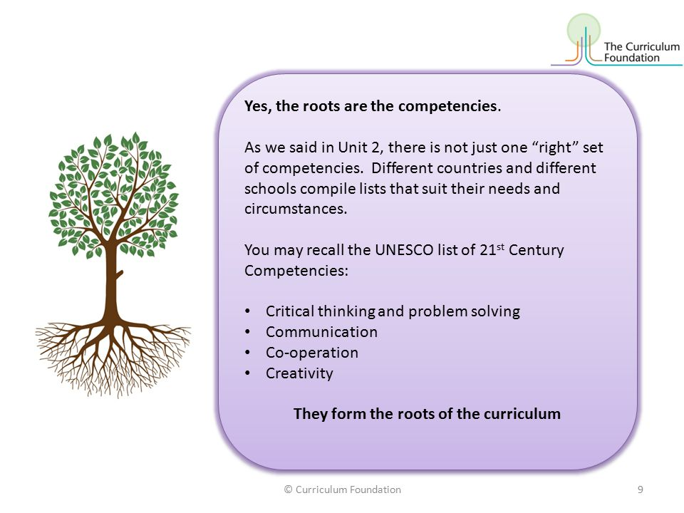 Yes, the roots are the competencies.