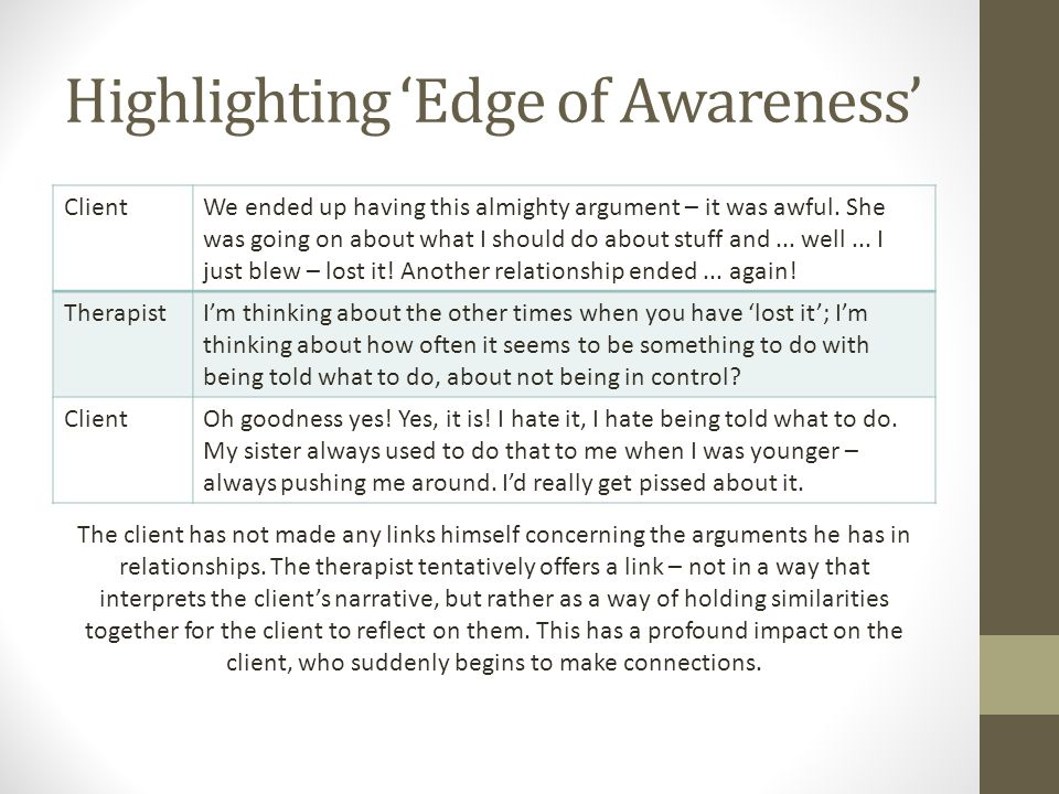 Highlighting 'Edge of Awareness' ClientWe ended up having this almighty argument – it was awful.