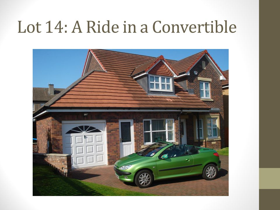 Lot 14: A Ride in a Convertible