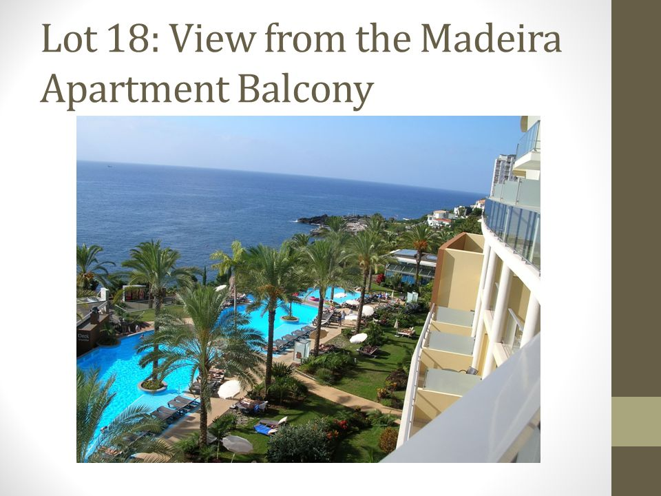 Lot 18: View from the Madeira Apartment Balcony