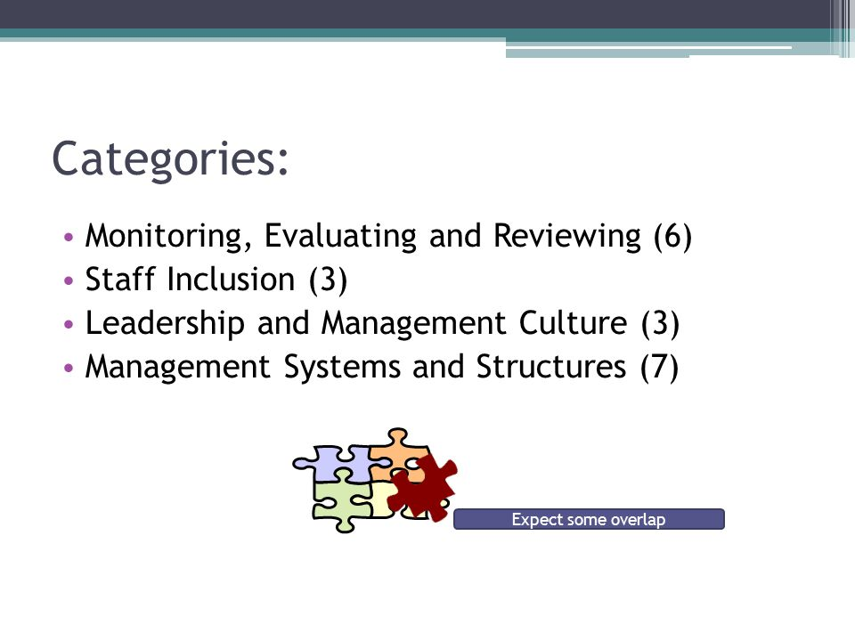 Categories: Monitoring, Evaluating and Reviewing (6) Staff Inclusion (3) Leadership and Management Culture (3) Management Systems and Structures (7) Expect some overlap