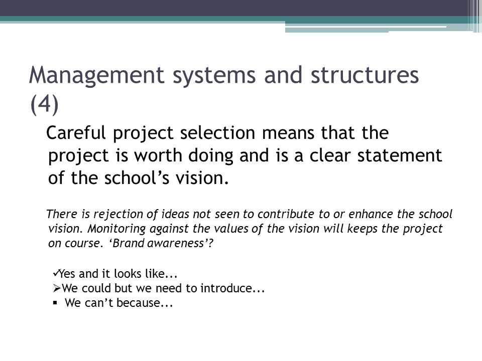 Management systems and structures (4) Careful project selection means that the project is worth doing and is a clear statement of the school's vision.