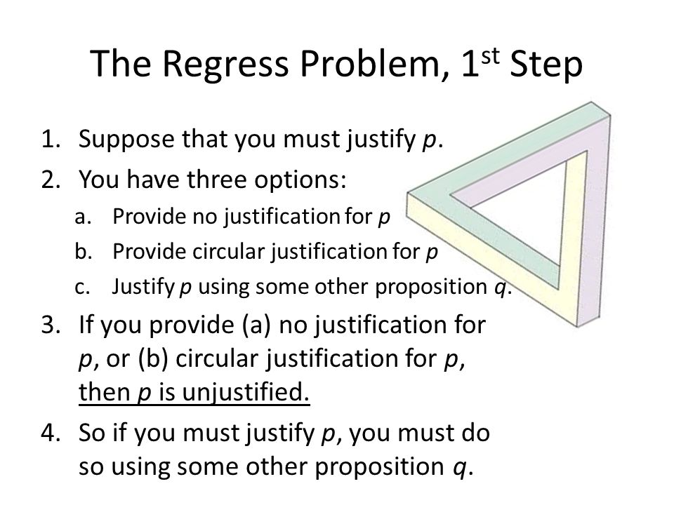 The Regress Problem, 1 st Step 1.Suppose that you must justify p. 2.You have three options: a.Provide no justification for p b.Provide circular justif