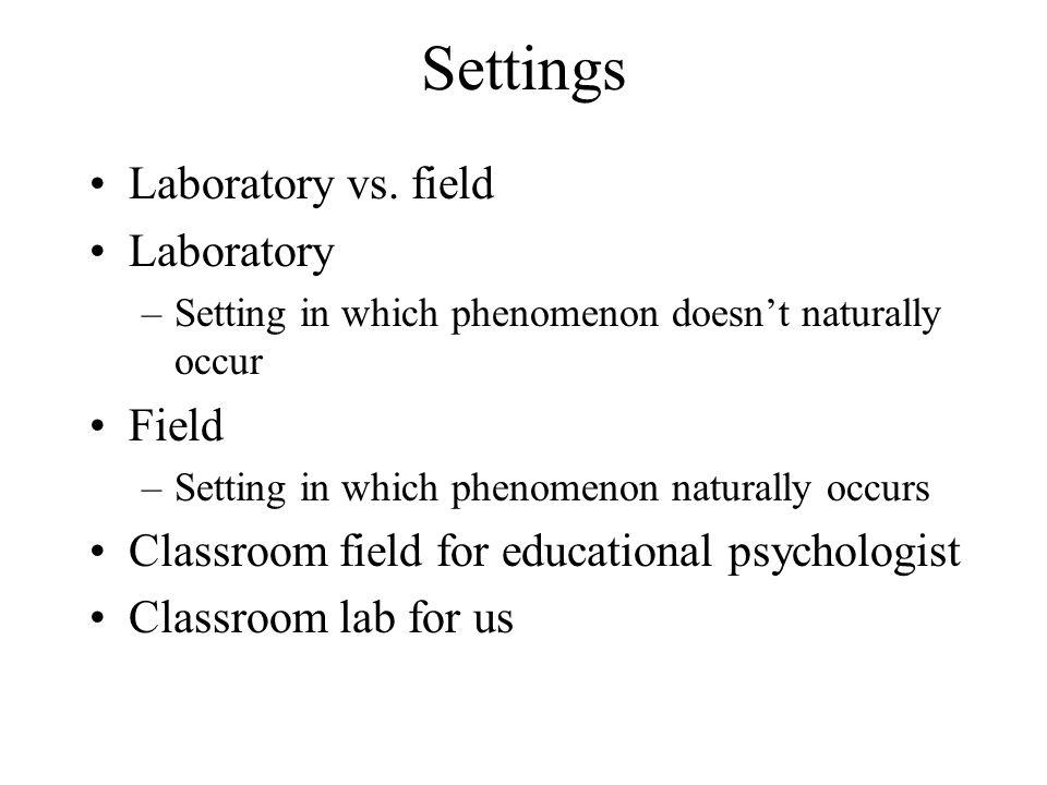Settings Laboratory vs. field Laboratory –Setting in which phenomenon doesn't naturally occur Field –Setting in which phenomenon naturally occurs Clas