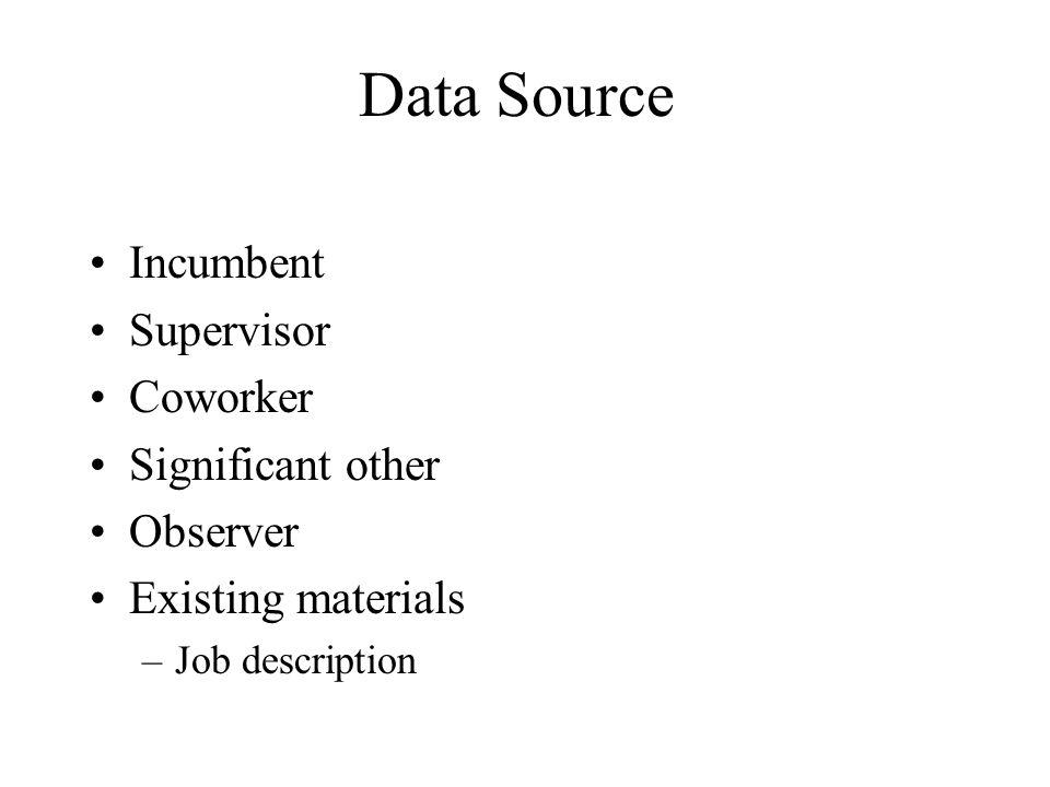 Data Source Incumbent Supervisor Coworker Significant other Observer Existing materials –Job description