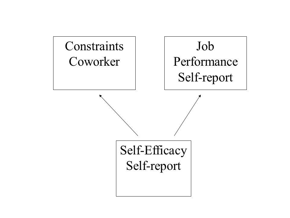 Self-Efficacy Self-report Constraints Coworker Job Performance Self-report