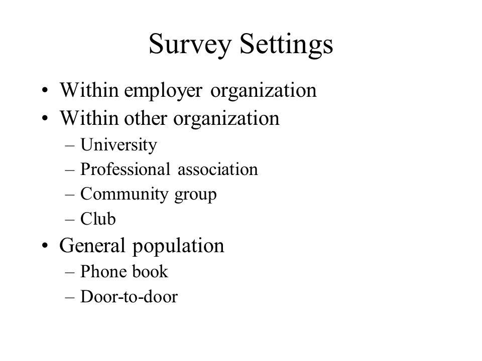 Survey Settings Within employer organization Within other organization –University –Professional association –Community group –Club General population