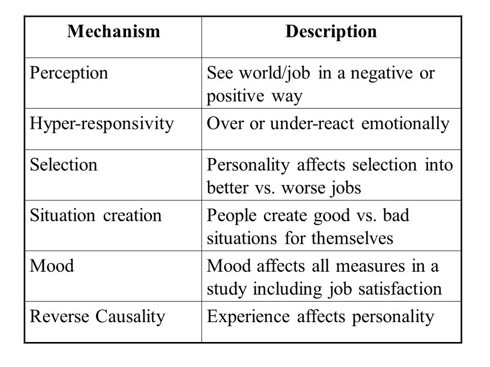 MechanismDescription PerceptionSee world/job in a negative or positive way Hyper-responsivityOver or under-react emotionally SelectionPersonality affe