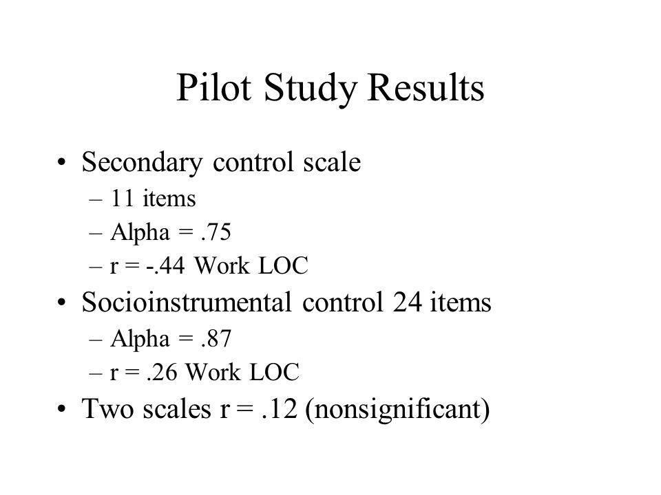 Pilot Study Results Secondary control scale –11 items –Alpha =.75 –r = -.44 Work LOC Socioinstrumental control 24 items –Alpha =.87 –r =.26 Work LOC T