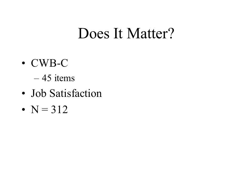 Does It Matter? CWB-C –45 items Job Satisfaction N = 312