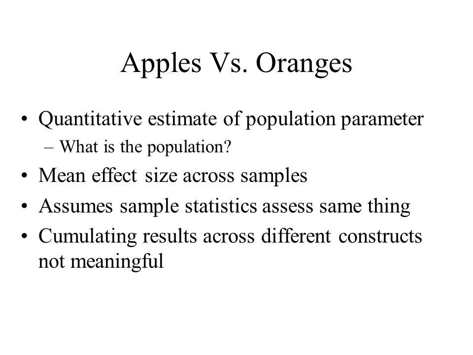 Apples Vs. Oranges Quantitative estimate of population parameter –What is the population? Mean effect size across samples Assumes sample statistics as