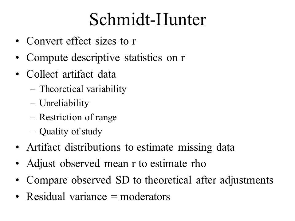 Schmidt-Hunter Convert effect sizes to r Compute descriptive statistics on r Collect artifact data –Theoretical variability –Unreliability –Restrictio