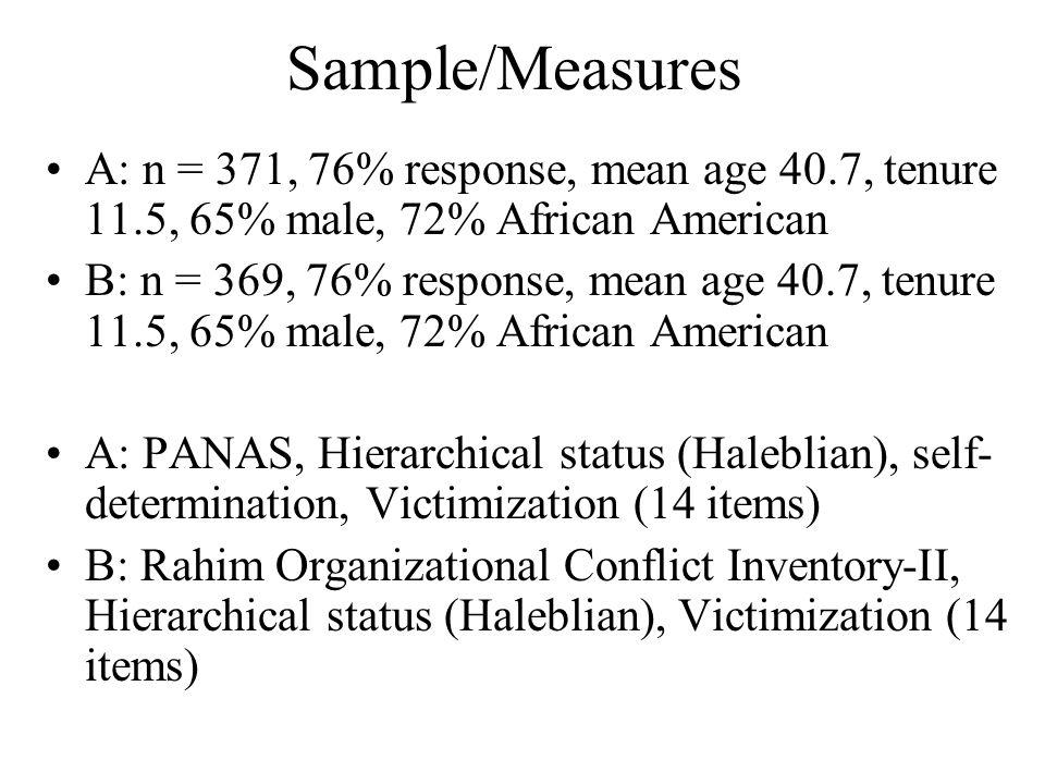Sample/Measures A: n = 371, 76% response, mean age 40.7, tenure 11.5, 65% male, 72% African American B: n = 369, 76% response, mean age 40.7, tenure 1