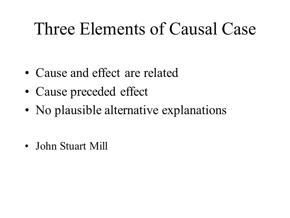 Three Elements of Causal Case Cause and effect are related Cause preceded effect No plausible alternative explanations John Stuart Mill