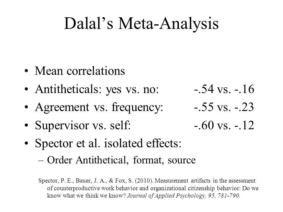 Dalal's Meta-Analysis Mean correlations Antitheticals: yes vs. no: -.54 vs. -.16 Agreement vs. frequency: -.55 vs. -.23 Supervisor vs. self: -.60 vs.