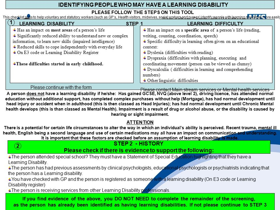 IDENTIFYING PEOPLE WHO MAY HAVE A LEARNING DISABILITY PLEASE FOLLOW THE STEPS ON THIS TOOL This checklist aims to help voluntary and statutory workers (such as GP's, Health visitors, midwives, social workers and nurses) identify people with learning disabilities more easily.