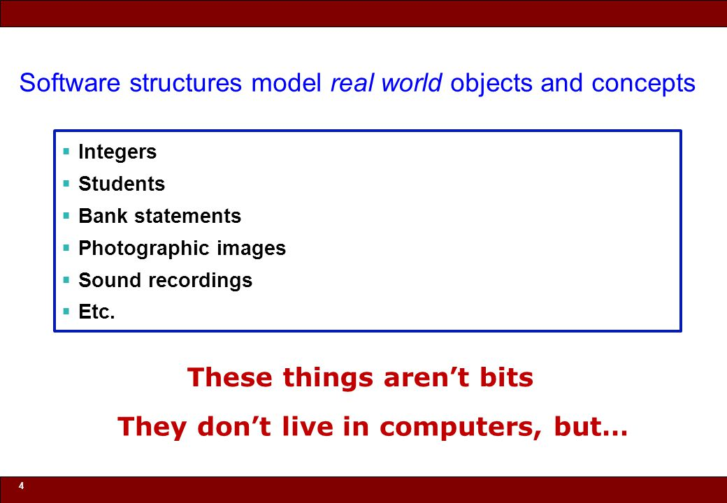 © 2010 Noah Mendelsohn Software structures model real world objects and concepts  Integers  Students  Bank statements  Photographic images  Sound recordings  Etc.