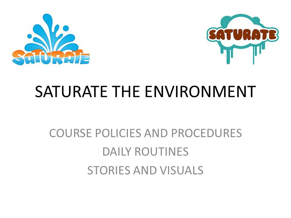 SATURATE THE ENVIRONMENT COURSE POLICIES AND PROCEDURES DAILY ROUTINES STORIES AND VISUALS
