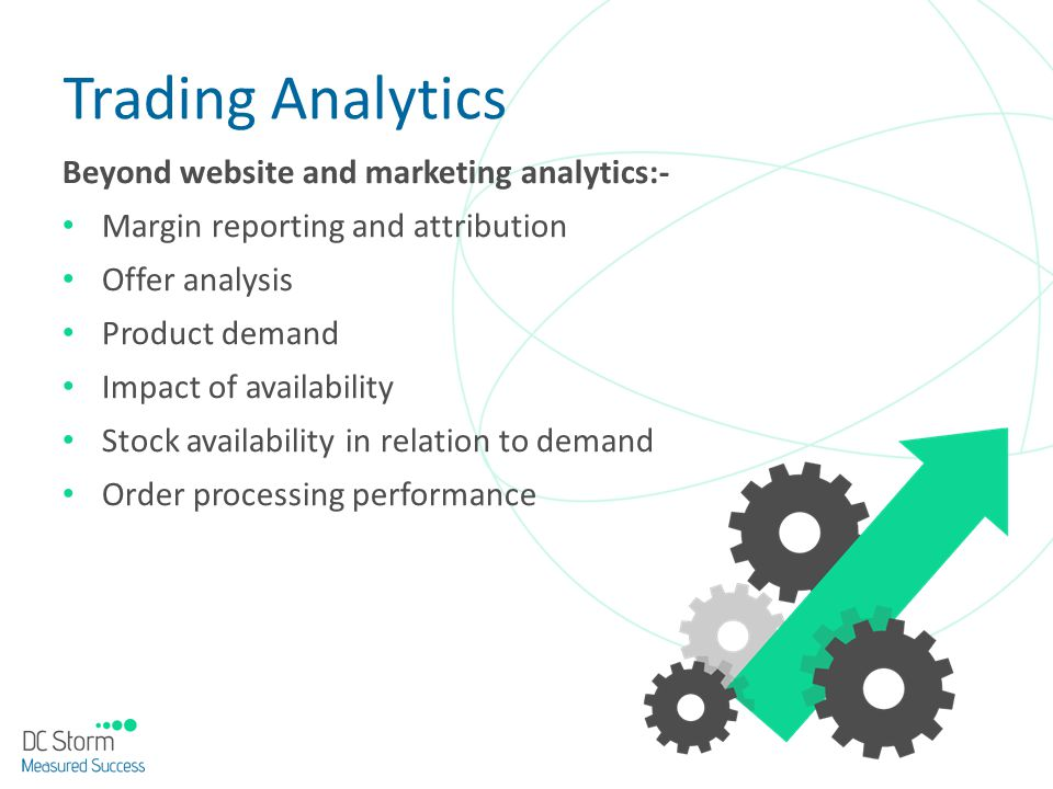 Beyond website and marketing analytics:- Margin reporting and attribution Offer analysis Product demand Impact of availability Stock availability in r