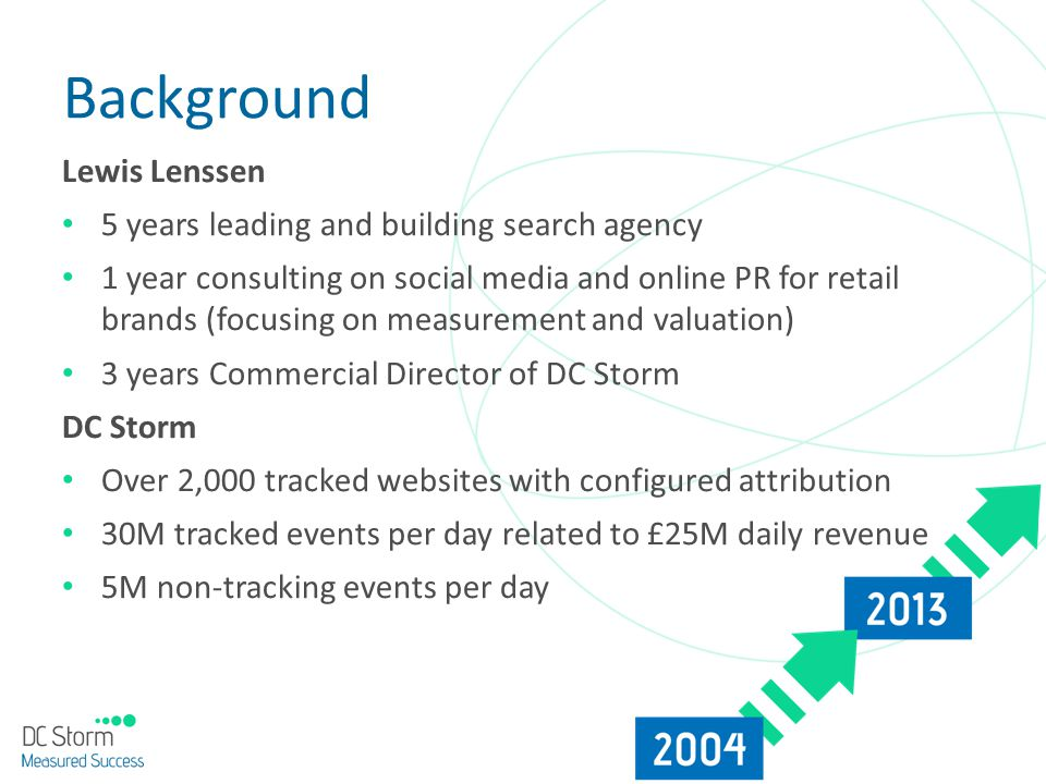 Background Lewis Lenssen 5 years leading and building search agency 1 year consulting on social media and online PR for retail brands (focusing on mea