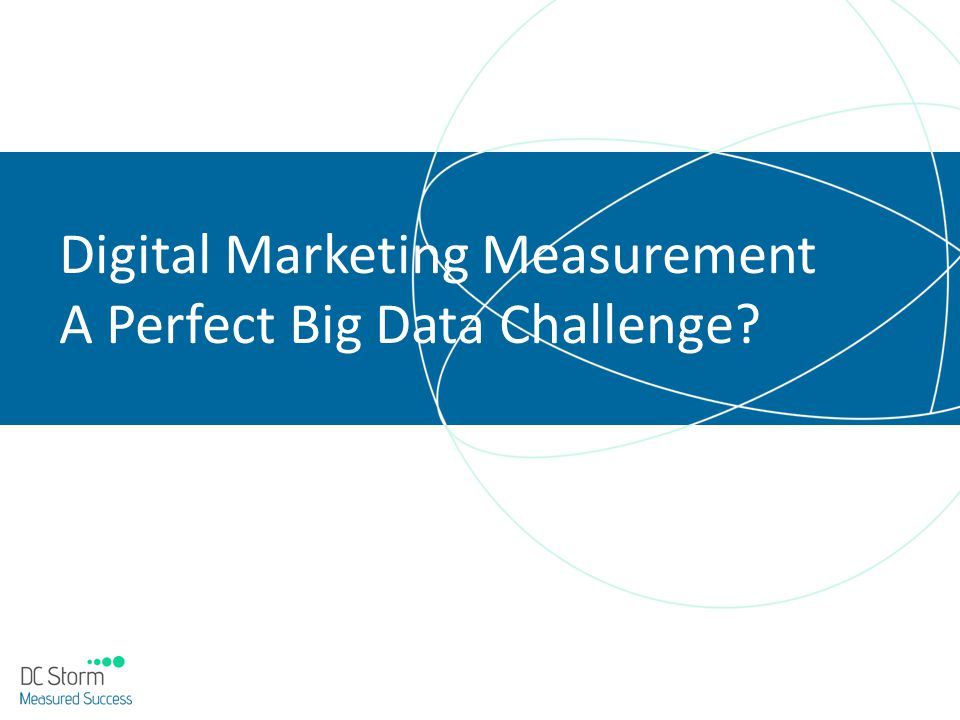 Digital Marketing Measurement Digital Marketing Attributes Large volumes of automatic collected, relevant data Clear opportunity to optimise marketing Significant costs and benefits Problem Solved.