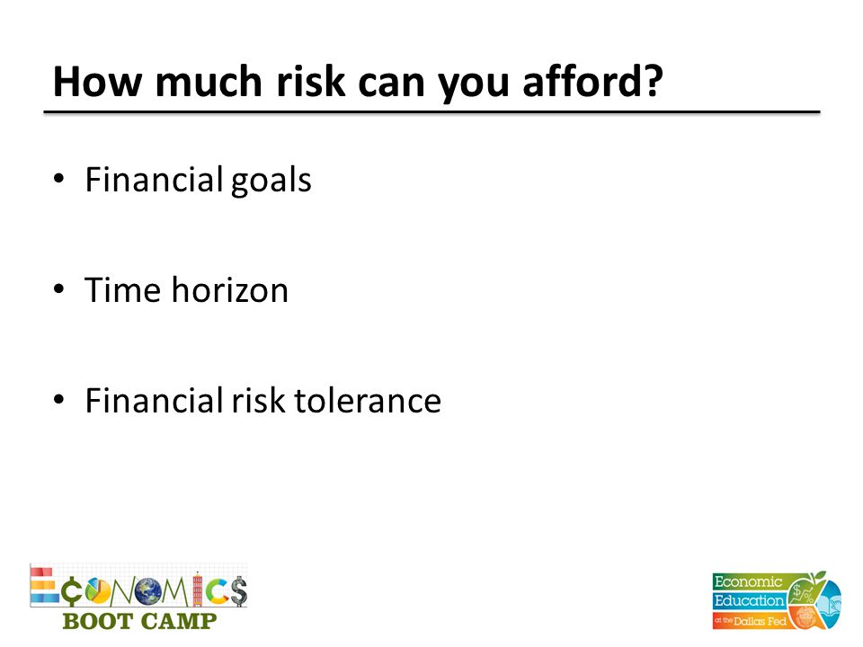 How much risk can you afford? Financial goals Time horizon Financial risk tolerance