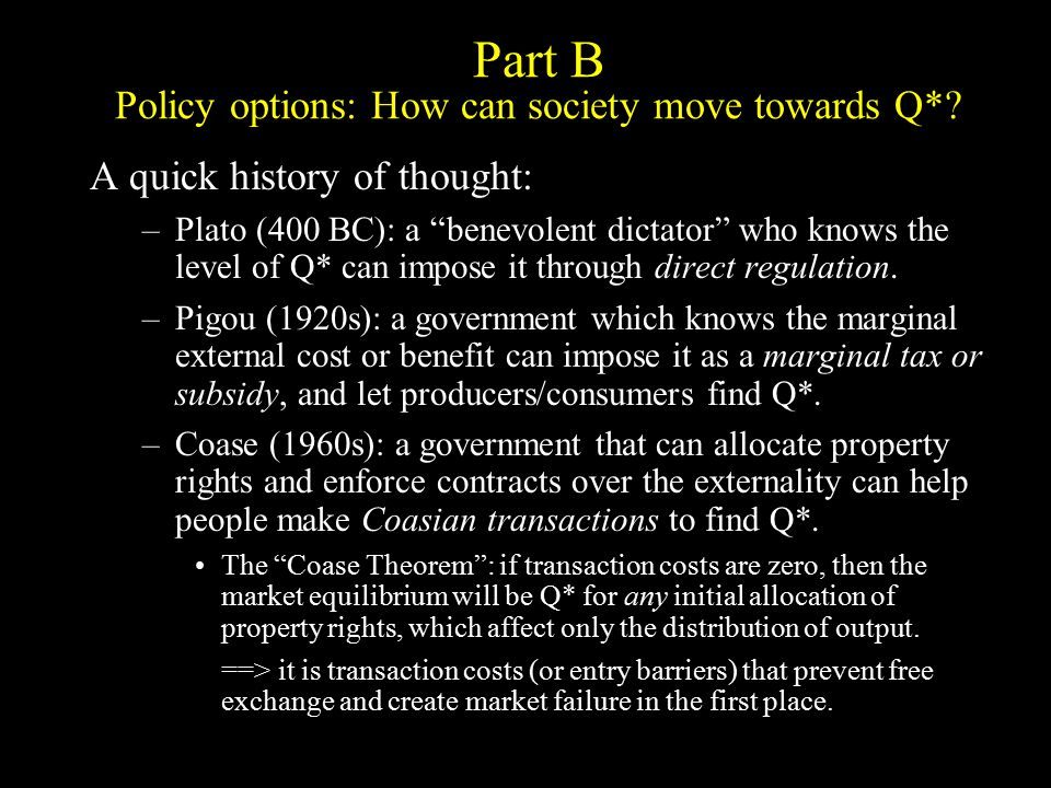Policy option #1: Welfare-maximizing regulation sets a quota at Q* S′ = MC + MD Q*Q free S = MC (marginal cost to producers) MD = marginal external damage to others D = WTP (willingness to pay by consumers) AB G Change in producer surplus D Effects of Optimal Quota -ABC C EF Change in consumer surplus -DEF Change in external costs +C FG Change in quota rents +AB DE net gain quota