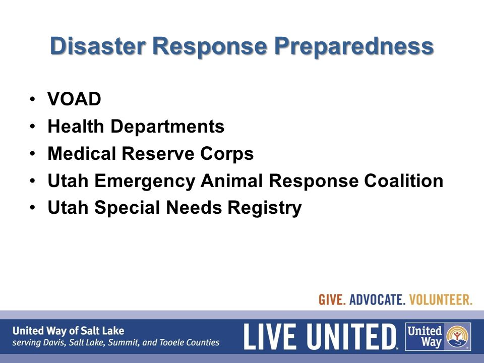 Disaster Response Preparedness VOAD Health Departments Medical Reserve Corps Utah Emergency Animal Response Coalition Utah Special Needs Registry