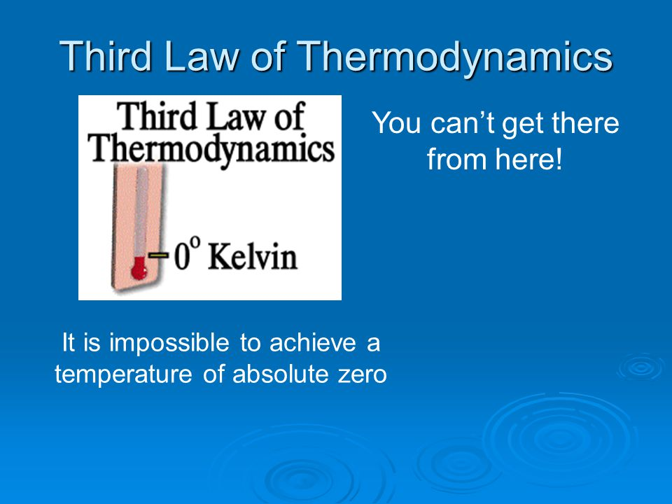 Third Law of Thermodynamics You can't get there from here.