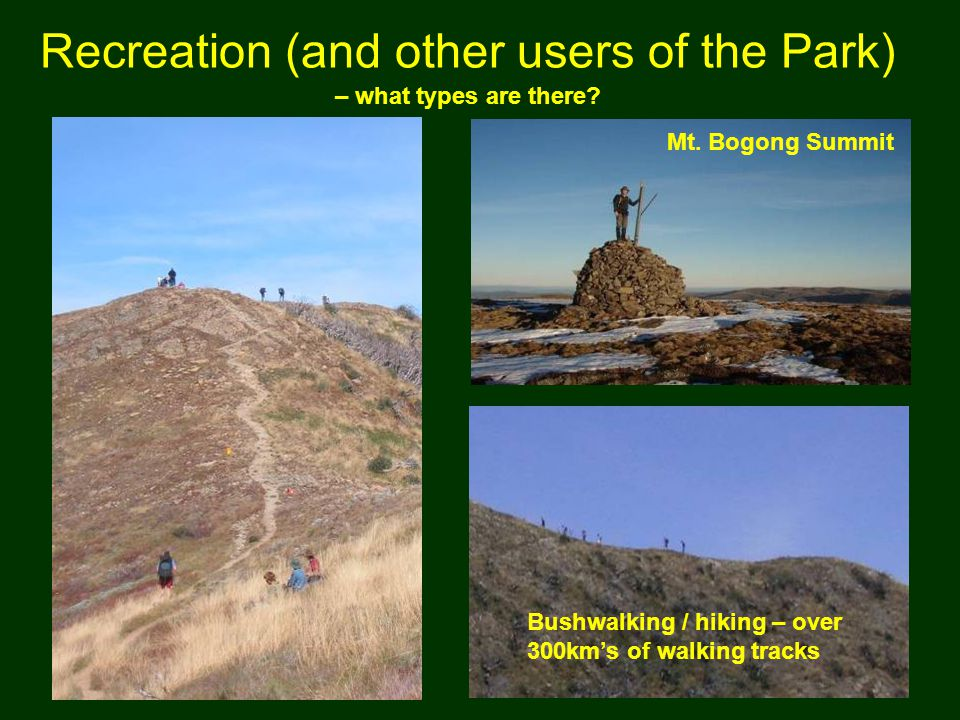 Recreation (and other users of the Park) – what types are there.