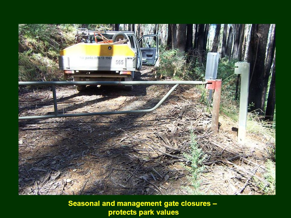 Seasonal and management gate closures – protects park values