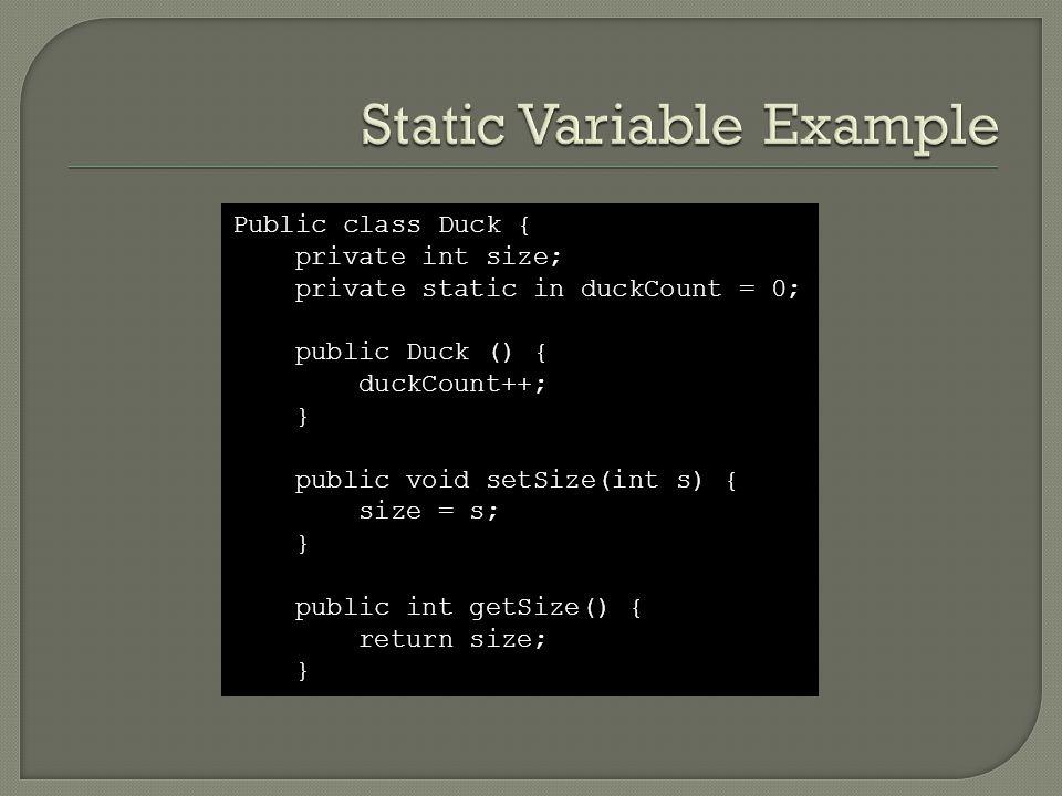 Public class Duck { private int size; private static in duckCount = 0; public Duck () { duckCount++; } public void setSize(int s) { size = s; } public int getSize() { return size; }