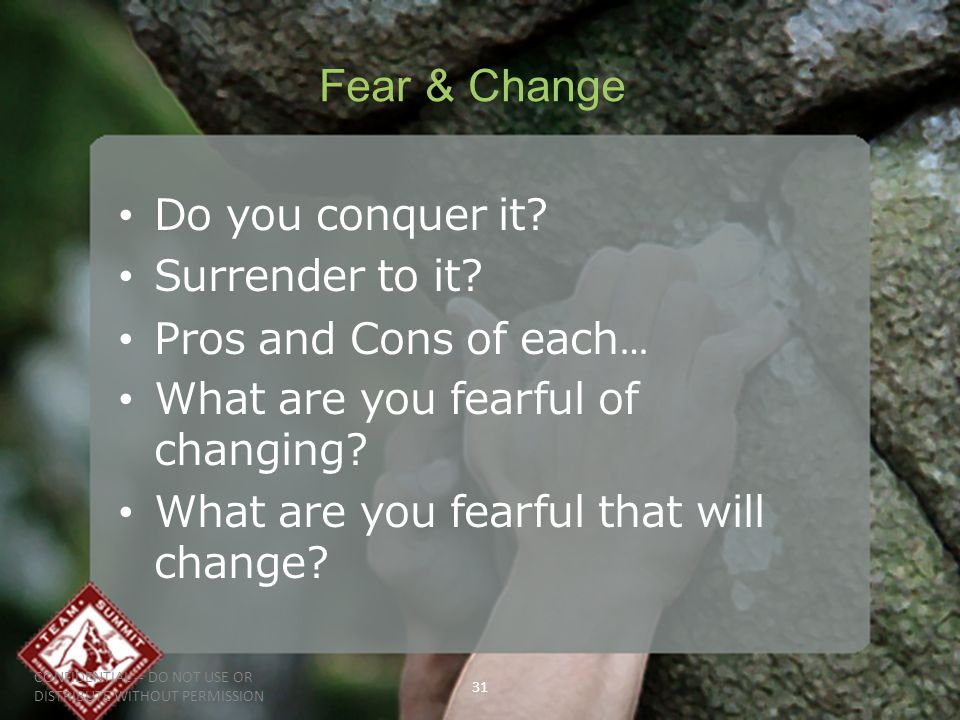 CONFIDENTIAL -- DO NOT USE OR DISTRIBUTE WITHOUT PERMISSION 31 Fear & Change Do you conquer it.