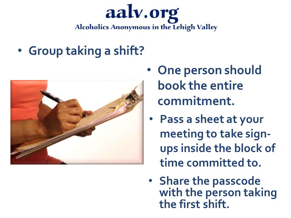 Group taking a shift. One person should book the entire commitment.