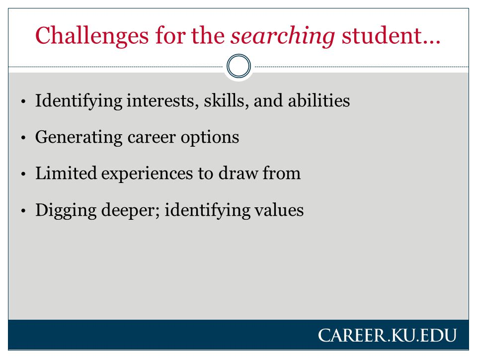 Challenges for the searching student… Identifying interests, skills, and abilities Generating career options Limited experiences to draw from Digging deeper; identifying values