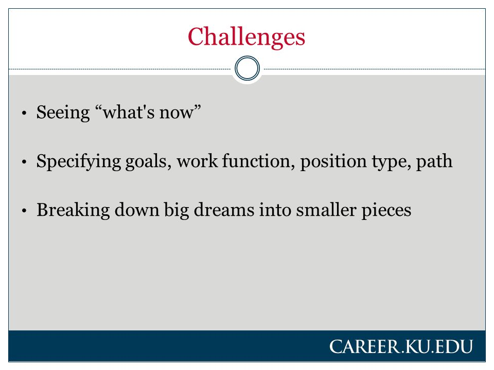 Challenges Seeing what s now Specifying goals, work function, position type, path Breaking down big dreams into smaller pieces