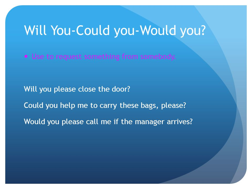 Will You-Could you-Would you? Use to request something from somebody. Will you please close the door? Could you help me to carry these bags, please? W