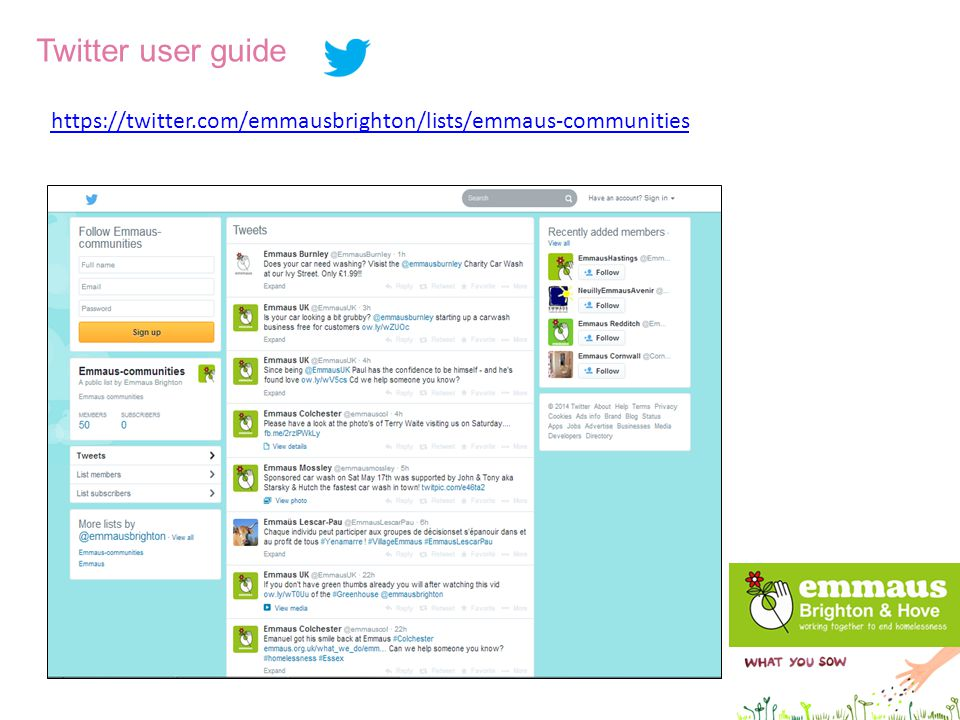 Twitter user guide https://twitter.com/emmausbrighton/lists/emmaus-communities