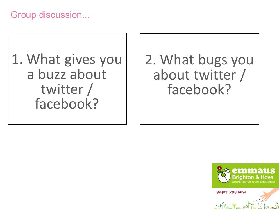 1. What gives you a buzz about twitter / facebook? Group discussion... 2. What bugs you about twitter / facebook?