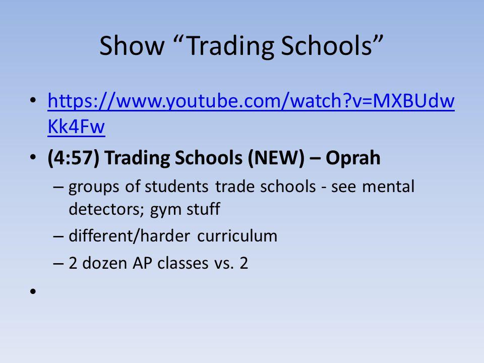 "Show ""Trading Schools"" https://www.youtube.com/watch?v=MXBUdw Kk4Fw https://www.youtube.com/watch?v=MXBUdw Kk4Fw (4:57) Trading Schools (NEW) – Oprah"