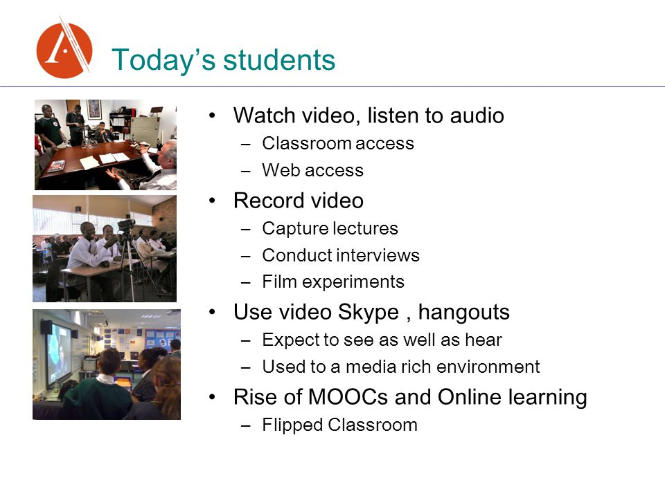 Today's students Watch video, listen to audio –Classroom access –Web access Record video –Capture lectures –Conduct interviews –Film experiments Use video Skype, hangouts –Expect to see as well as hear –Used to a media rich environment Rise of MOOCs and Online learning –Flipped Classroom