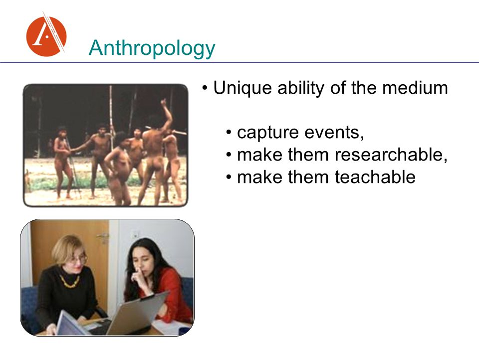Anthropology Unique ability of the medium capture events, make them researchable, make them teachable