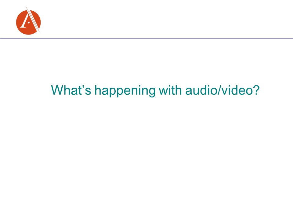 What's happening with audio/video