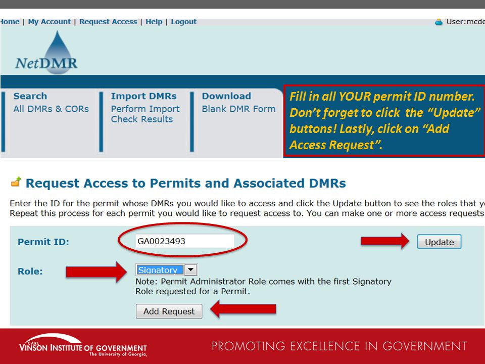 Fill in all YOUR permit ID number.Don't forget to click the Update buttons.